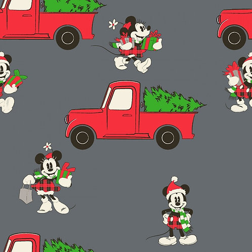 Disney Mickey and Minnie Mouse Red Christmas Truck Fabric