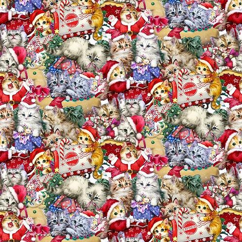 Christmas Kittens Allover Fabric