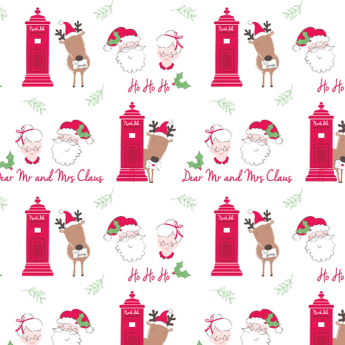 Mr and Mrs Claus Christmas Post Fabric