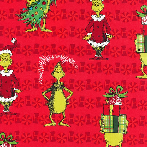 Dr. Seuss How the Grinch Stole Christmas Red Allover Fabric