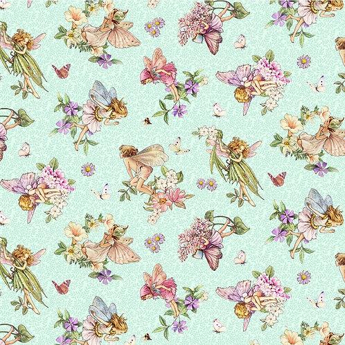 Songs of the Flower Fairies Dancing Fairies Fabric - Green