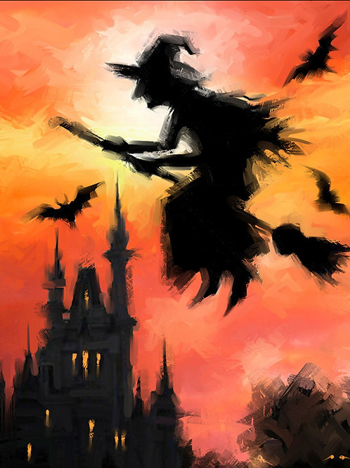 Halloween Witch on a Broom Panel