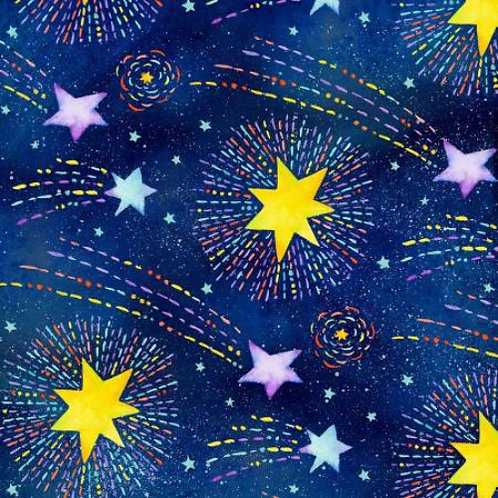 Navy Shooting Stars Fabric