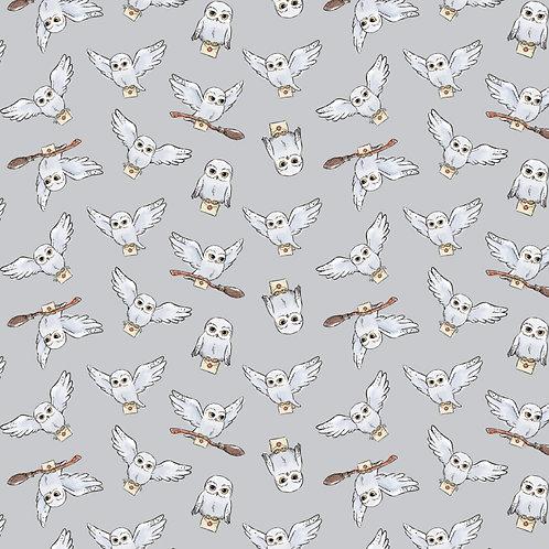 Harry Potter Hedwig Fabric - Light Grey