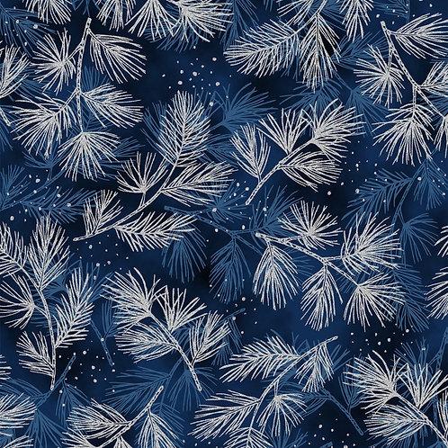 Navy Pine with Silver Metallic Christmas Fabric