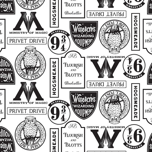 Harry Potter Locations Fabric - White