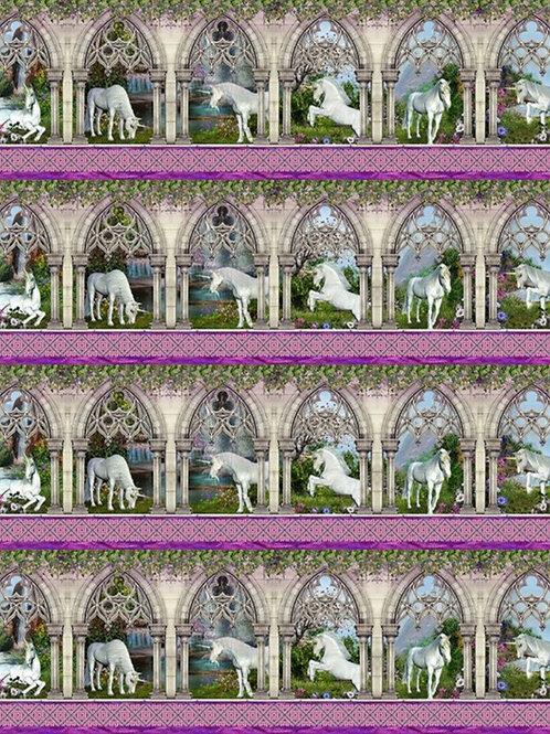 Unicorns Border Fabric