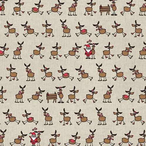 Christmas Santa and Reindeers in a Row Linen Look Fabric