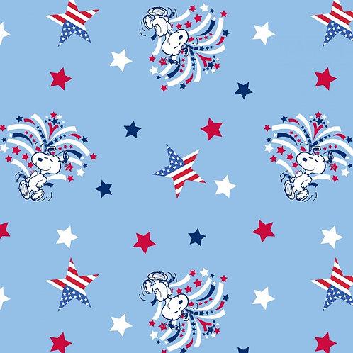 Peanuts Snoopy Patriotic Spangled Fabric