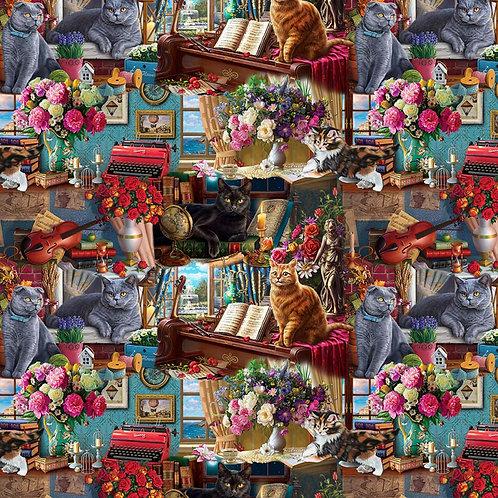 Madame Victoria's Elegant Cats - Vignettes Fabric
