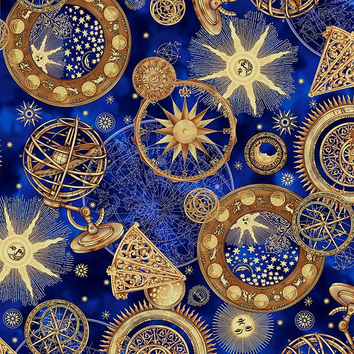 Hoffman Cosmic Skies Royal/Gold Metallic Fabric