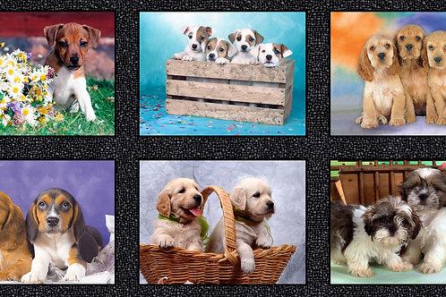 Multi Puppy Fabric Panel