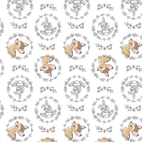 FLANNEL - Disney Bambi and Thumper Flannel Fabric - White