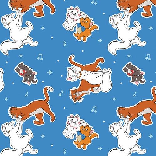 Aristocats Toss Blue Fabric