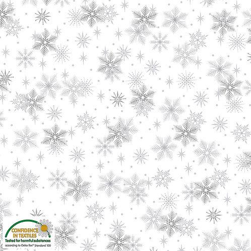 Stof Magic Christmas Fabric - Silver Snowflakes White Metallic