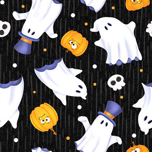 Glow Ghosts Black Pumpkins and Ghosts Glow In The Dark Fabric