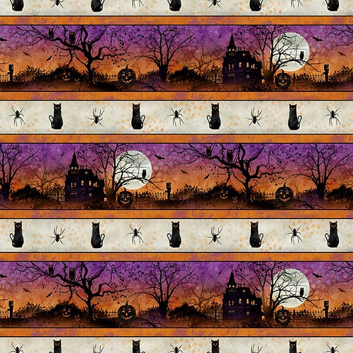 Frightful Night Halloween Repeat Stripe Fabric