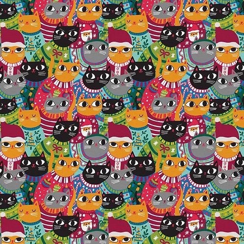 Christmas Sweater Cats Fabric