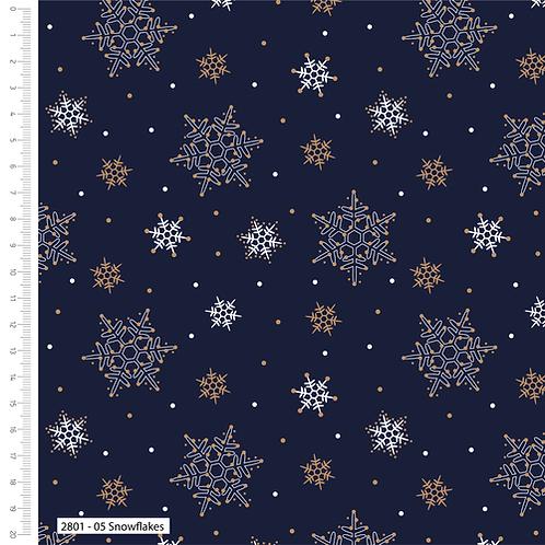 Craft Cotton Metallic Snowflakes Navy Christmas Fabric