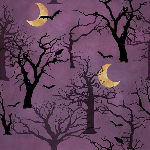Spooky Night Forest Fabric