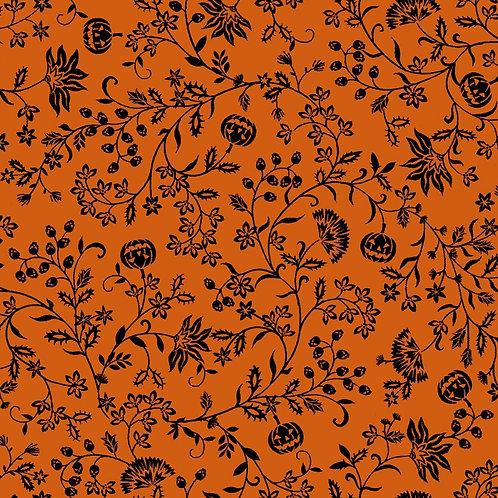 Spooky Night Orange Pumpkin Vines Fabric