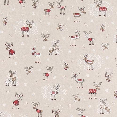 Christmas Reindeers Linen Look Fabric