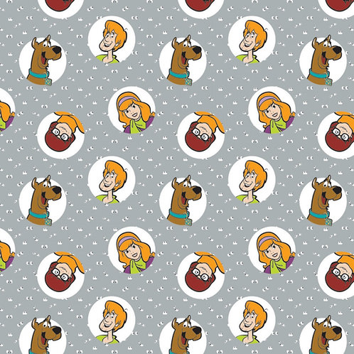 Scooby Doo and the Gang Fabric - Grey