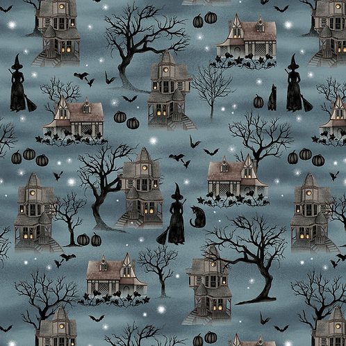 Harvest Moon Dusty Blue Spooky Scenic Fabric