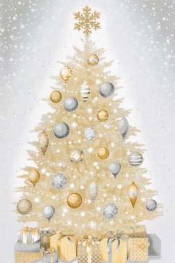 Champagne Christmas Tree & Presents Panel 24in Repeat W/metallic