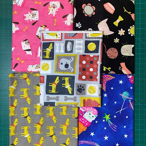 Cats and Dogs Fat Quarter Bundle x5 CD2