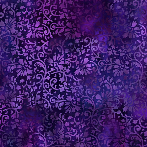 Rainbow of Jewels Vines Fabric - Purple
