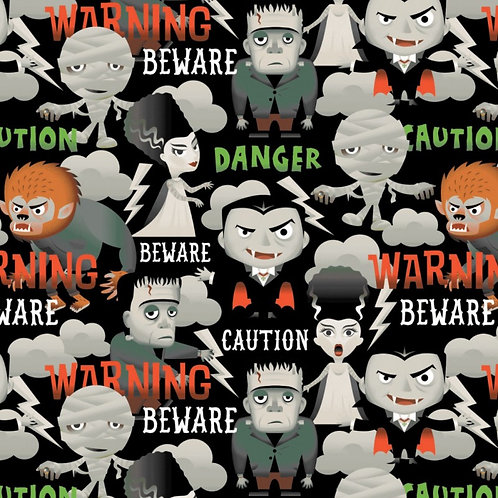 Beware Caution Danger Halloween Fabric