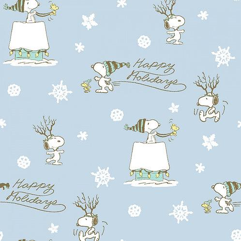 Peanuts Snoopy Light Blue Happy Holidays Fabric