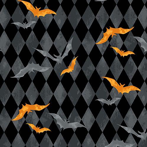 Midnight Haunt Harlequin Bats Fabric - Slate