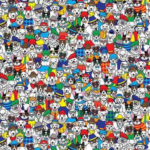 Packed Cartoon Dogs Fabric
