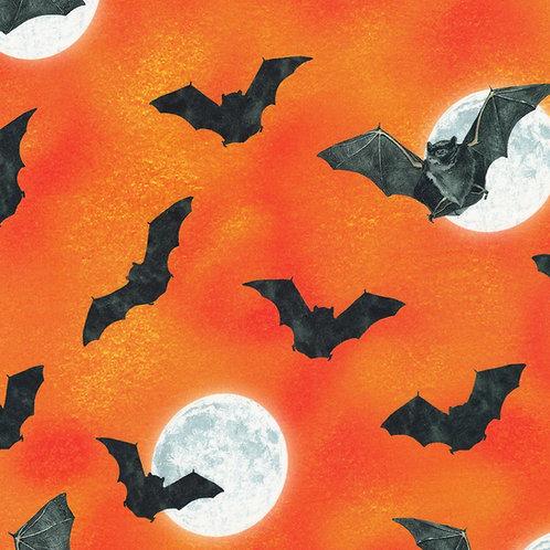 Pumpkin Raven Moon Bats and Moon Fabric