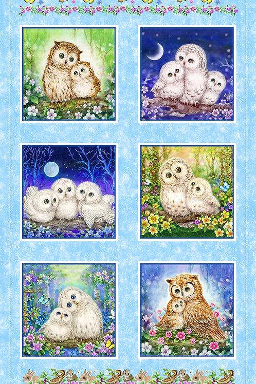 Blue Epic Owls Panel Digitally Printed