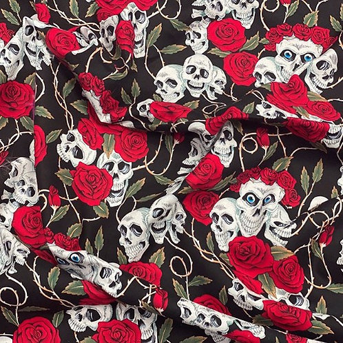 Halloween Skulls and Roses Red and Black Fabric