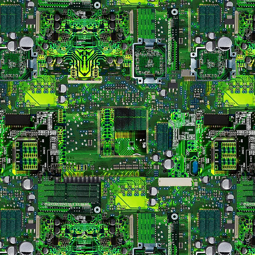 Timeless Treasures Green Computer Memory Board Fabric