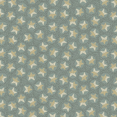 Anni Downs All For Christmas Med Blue Stars Fabric