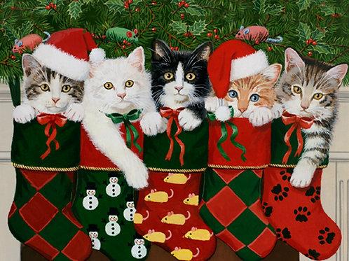 Christmas Stocking Kitties Panel