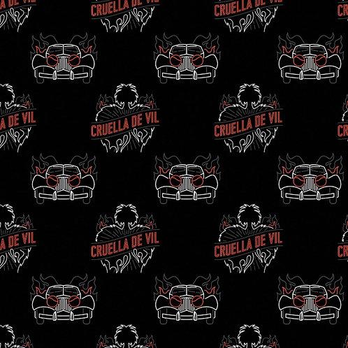 Disney Cruella De Vil Total Chaos Fabric - Black