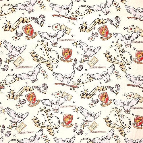 Harry Potter Gryffindor Hedwig Fabric - Cream