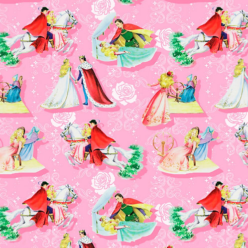 Vintage Storybook Sleeping Beauty Happily Ever After Fabric