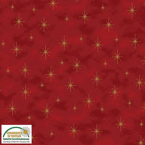 Stof Magic Christmas Fabric - Gold Stars Red Metallic