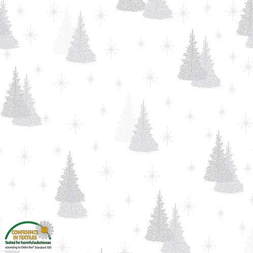 Stof Magic Christmas Fabric - Silver Trees White Metallic