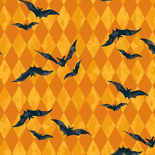 Midnight Haunt Harlequin Bats Fabric - Orange