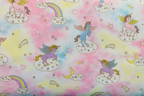 Fairy Tales II Pink Fabric Unicorns