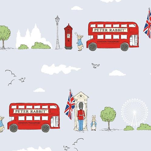 London Street Grey Peter Rabbit Fabric