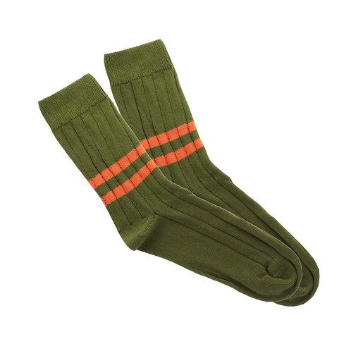Military Green - Double Dark Orange Stripe